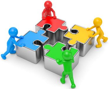 bunte 3d Männchen mit Puzzleteile Teamwork
